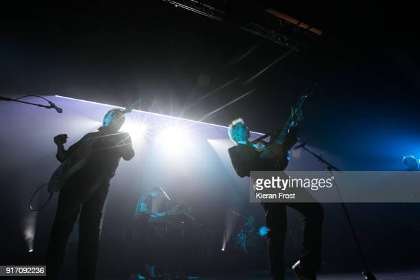 Dino Bardot and Alex Kapranos of Franz Ferdinand perform live at the Olympia Theatre on February 11 2018 in Dublin Ireland