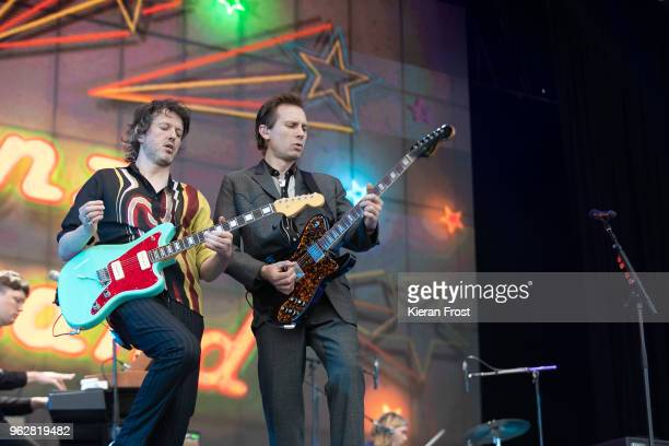 Dino Bardot and Alex Kapranos of Franz Ferdinand performs at the BBC 6Music Biggest Weekend at Titanic Slipways on May 26 2018 in Belfast Northern...
