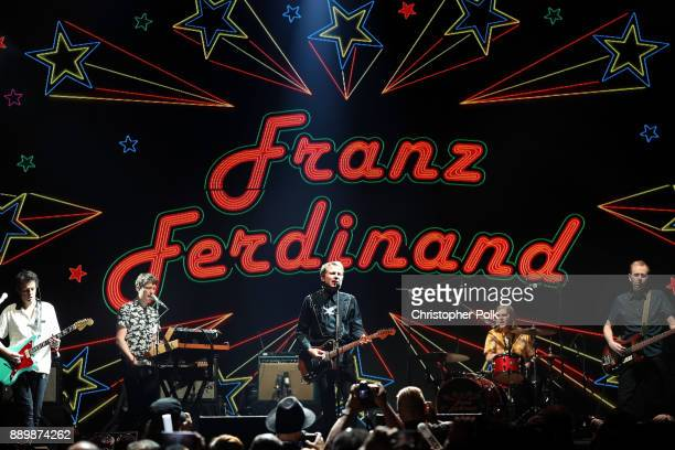Dino Bardot Julian Corrie Alex Kapranos Paul Thomson and Bob Hardy of Franz Ferdinand perform onstage during KROQ Almost Acoustic Christmas 2017 at...
