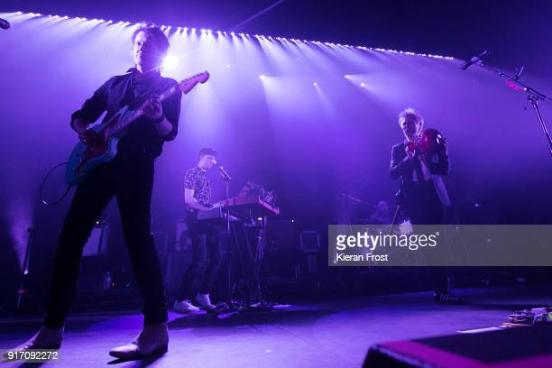 Dino Bardot Julian Corrie Paul Thomson and Alex Kapranos of Franz Ferdinand performs live at the Olympia Theatre on February 11 2018 in Dublin Ireland
