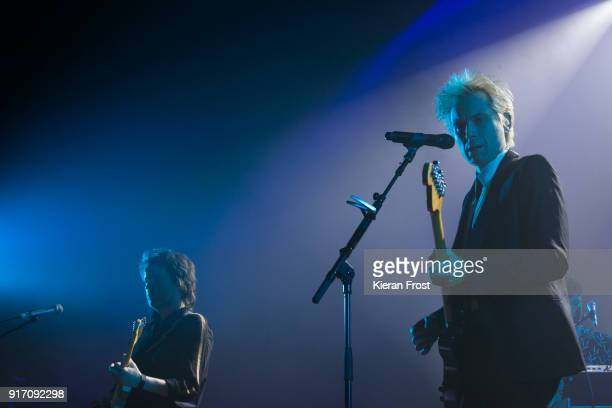 Dino Bardot L and Alex Kapranos of Franz Ferdinand perform live at the Olympia Theatre on February 11 2018 in Dublin Ireland