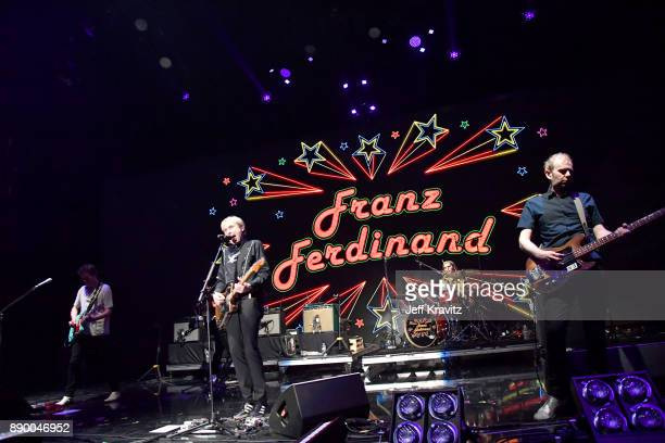 Dino BardotAlex KapranosPaul ThomsonBob Hardy of Franz Ferdinand performs at the KROQ Almost Acoustic Christmas 2017 Night 1 on December 10 2017 at...