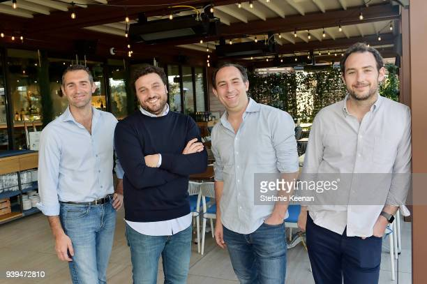 Dino Borri, Nicola Farinetti, Adam Saper and Alex Saper attend Terra Grand Opening at Eataly Los Angeles at Eataly LA on March 28, 2018 in Los...