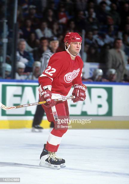 Dino Ciccarelli of the Detroit Red Wings skates on the ice during an NHL game against the New York Islanders on February 27 1996 at the Nassau...