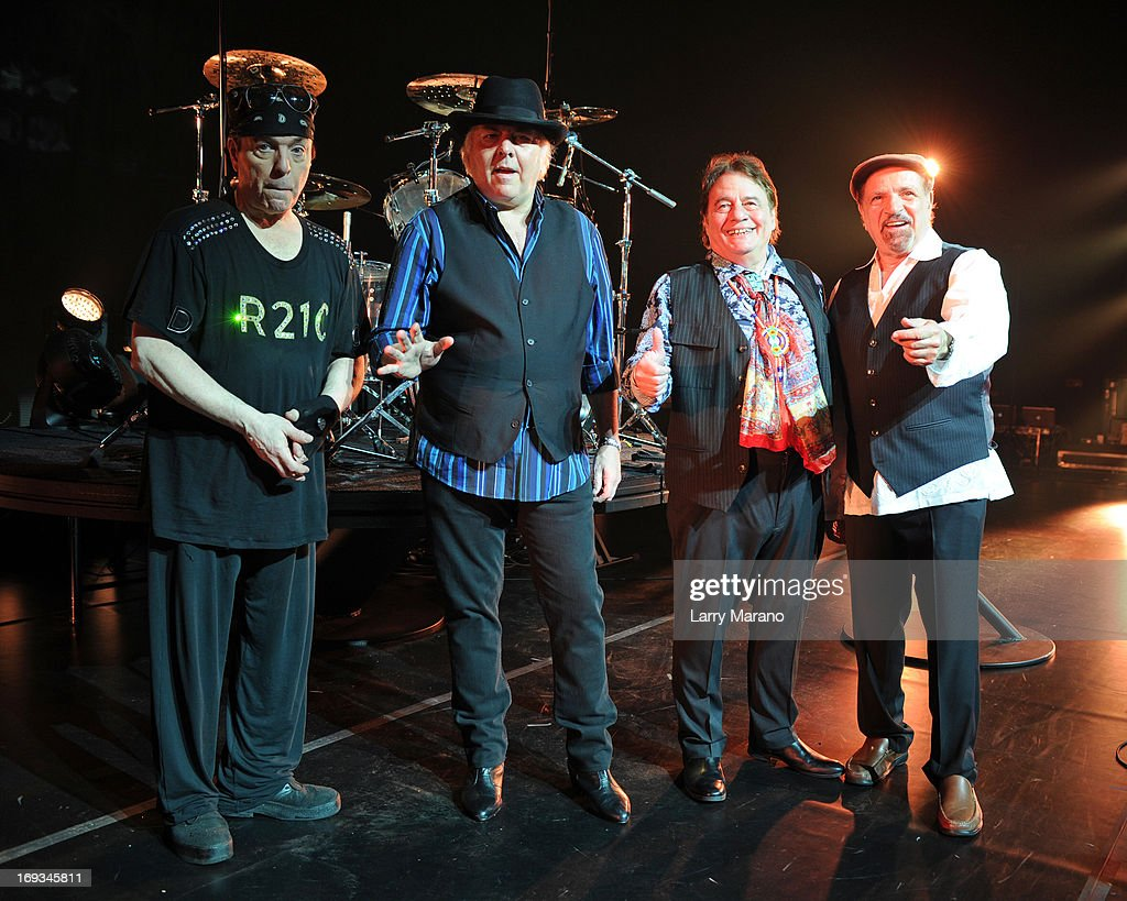Dino Danelli, Gene Cornish, Eddie Brigati and Felix Cavaliere of The Rascals pose after sound check at Hard Rock Live! soundcheck in the Seminole Hard Rock Hotel & Casino on May 23, 2013 in Hollywood, Florida.