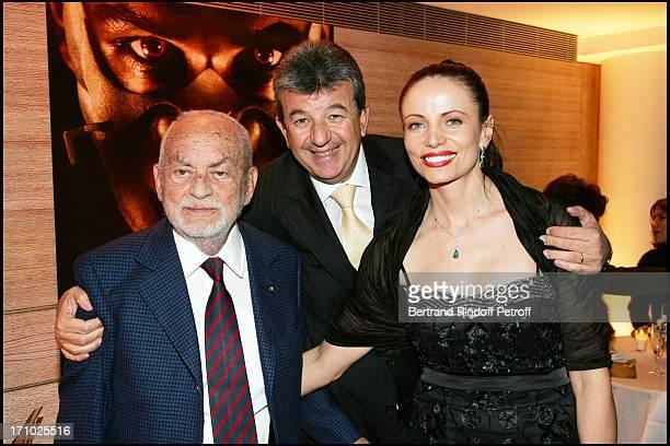 Dino De Laurentiis Tarak Ben Ammar and his wife Beata Premiere of the movie Hannibal Rising at the Charles Louis Havas space in Neuilly Sur Seine...