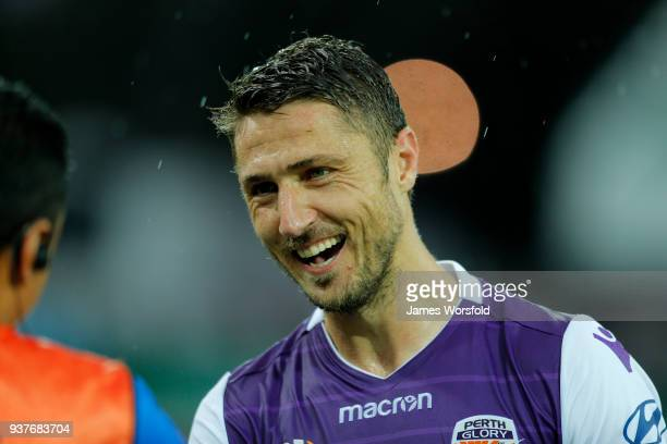 Dino Djulbic all smiles after Perth Glory full time win during the round 24 ALeague match between the Perth Glory and the Melbourne Victory at nib...