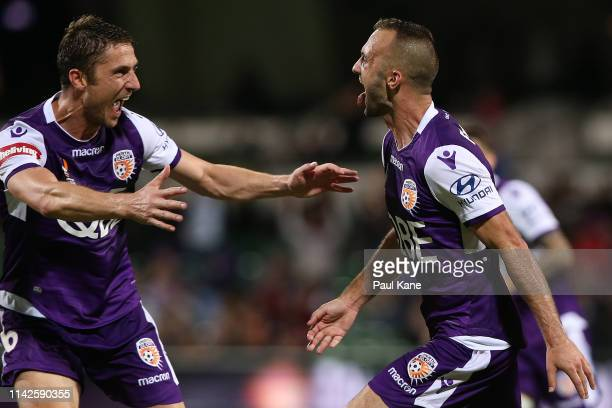 Dino Djulbic and Ivan Franjic of the Glory celebrate a goal during the round 25 ALeague match between the Perth Glory and the Newcastle Jets at HBF...