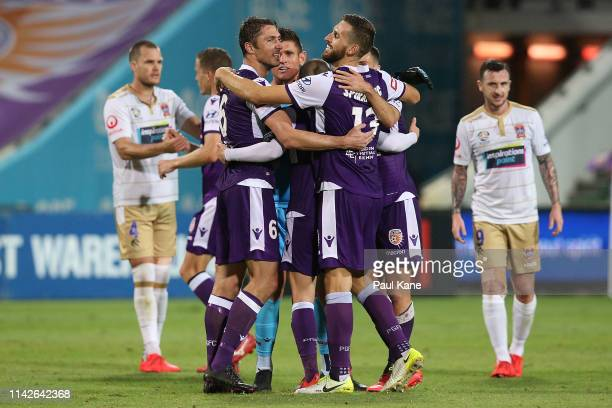 Dino Djulbic Liam Reddy Neil Kilkenny Matthew Spiranovic and Joel Chianese of the Glory celebrate winning the round 25 ALeague match between the...