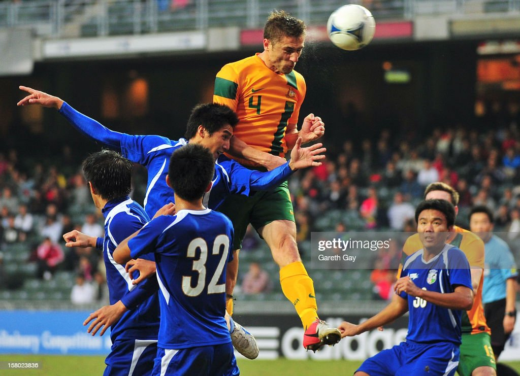 Dino Djulbic of Australia wins the ball in the air during the EAFF East Asian Cup 2013 Qualifying match between Chinese Tapei and the Australian Socceroos at Hong Kong Stadium on December 9, 2012 in So Kon Po, Hong Kong.