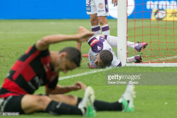 Dino Djulbic of Glory hits the post after stopping a shot at goal by Marcelo Carrusca of the Wanderers during the round 23 ALeague match between the...