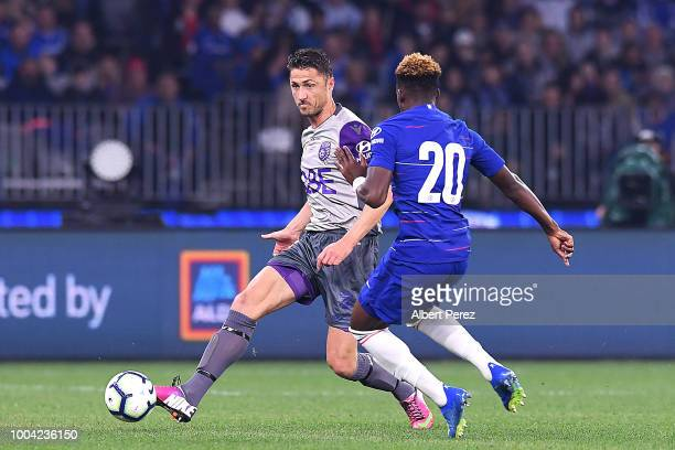 Dino Djulbic of Perth Glory passes the ball during the international friendly between Chelsea FC and Perth Glory at Optus Stadium on July 23 2018 in...