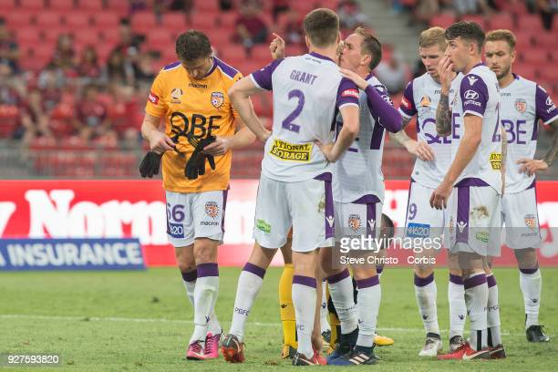 Dino Djulbic of Perth Glory takes over as goalkeeper after teammate Liam Reddy was sent off during the round 23 ALeague match between the Western...