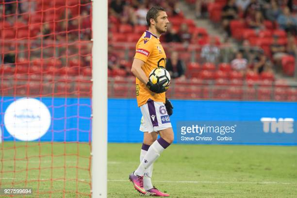 Dino Djulbic of Perth Glory takes over as replacement goalkeeper after teammate Liam Reddy was sent off during the round 23 ALeague match between the...