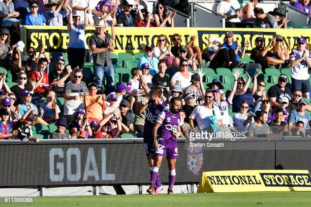 Dino Djulbic of the Glory acknowledges the crowd after Diego Castro of the Glory kicked his first goal during the round 18 ALeague match between the...