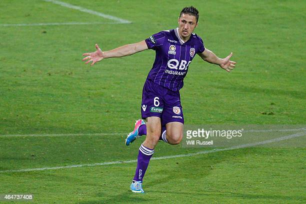Dino Djulbic of the Glory celebrates after scoring a goal during the round 19 ALeague match between Perth Glory and Brisbane Roar at nib Stadium on...