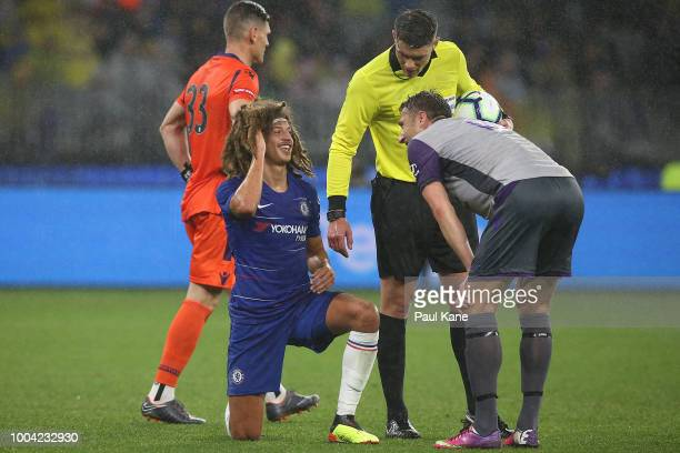 Dino Djulbic of the Glory checks on Ethan Ampadu of Chelsea during the international friendly between Chelsea FC and Perth Glory at Optus Stadium on...