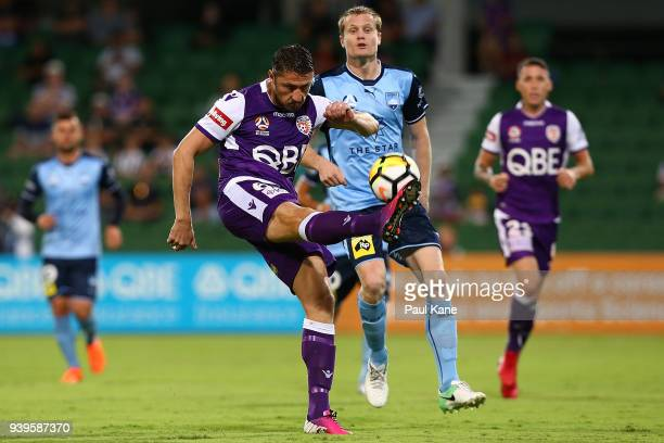 Dino Djulbic of the Glory clears the ball during the round 25 ALeague match between the Perth Glory and Sydney FC at nib Stadium on March 29 2018 in...