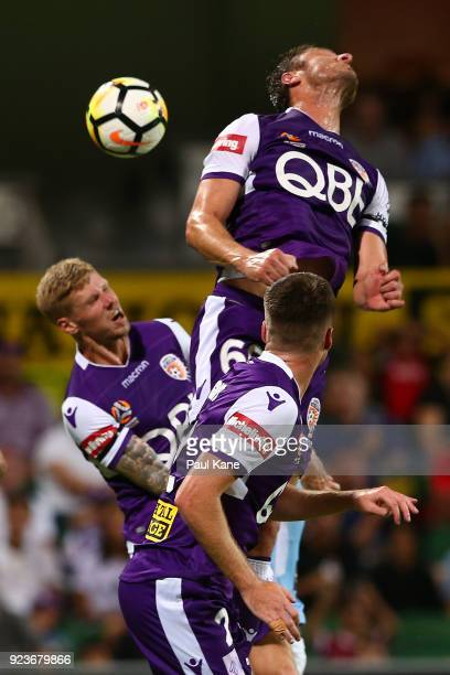 Dino Djulbic of the Glory deflects a corner kick by City during the round 21 ALeague match between the Perth Glory and Melbourne City FC at nib...