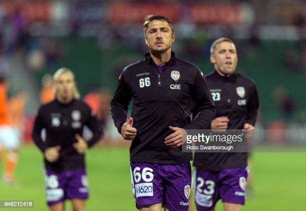 Dino Djulbic of the Glory during pre game warm up for Perth Glory at nib Stadium on April 14 2018 in Perth Australia