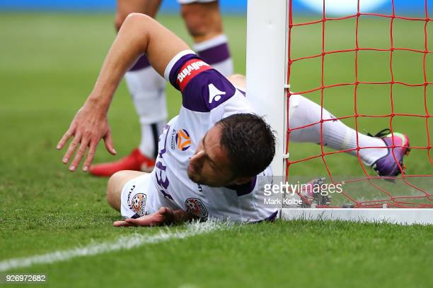 Dino Djulbic of the Glory hits the goal post after clearing the ball during the round 23 ALeague match between the Western Sydney Wanderers and the...