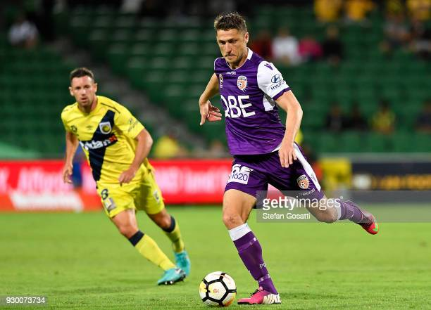 Dino Djulbic of the Glory kicks the ball during the round 22 ALeague match between the Perth Glory and the Central Coast Mariners at nib Stadium on...