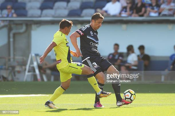 Dino Djulbic of the Victory in action during the round 14 ALeague match between the Melbourne Victory and the Central Coast Mariners at GMHBA Stadium...