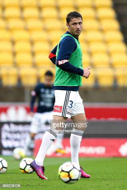 Dino Djulbic of the Victory warms up during the round 15 ALeague match between the Wellington Phoenix and Melbourne Victory at Westpac Stadium on...