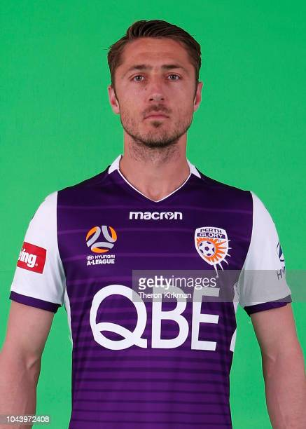 Dino Djulbic poses during the 2018/19 Perth Glory ALeague season headshots session at Glory HQ on September 21 2018 in Perth Australia