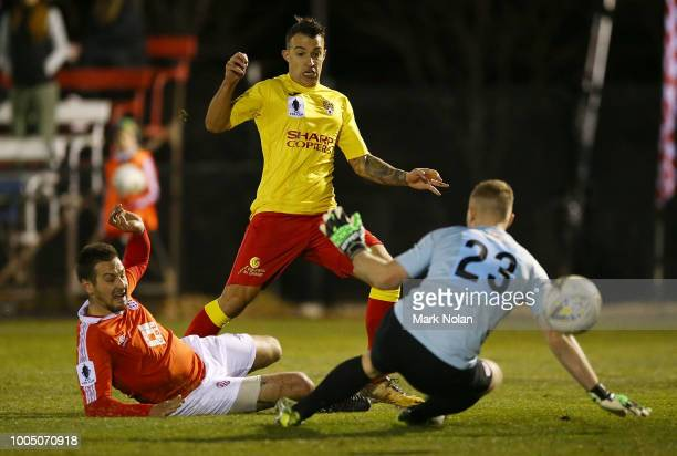 Dino Fajkovic of Broadmeadow shoots to score a goal during the FFA Cup round of 32 match between Canberra FC v Broadmeadow Magic at Deakin Stadium on...