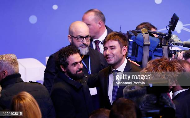 Dino Giarrusso and Alessandro Di Battista attend at the event organized by the M5S to present the law of citizenship income at the National Space...