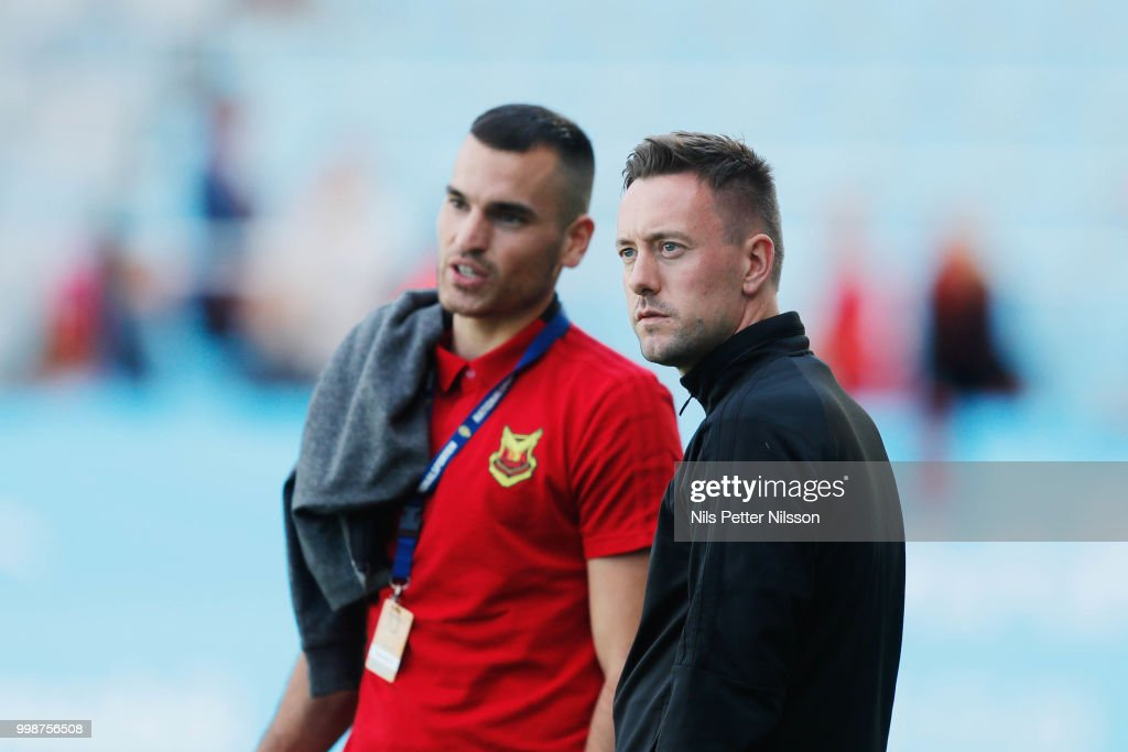 Dino Islamovic of Ostersunds FK and Ian Burchnall, head coach of Ostersunds FK during warm up ahead of the Allsvenskan match between Malmo FF and Ostersunds FK at Malmo Stadion on July 14, 2018 in Malmo, Sweden.