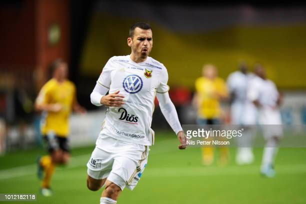 Dino Islamovic of Ostersunds FK during the Allsvenskan match between IF Elfsborg and Ostersunds FK at Boras Arena on August 6 2018 in Boras Sweden