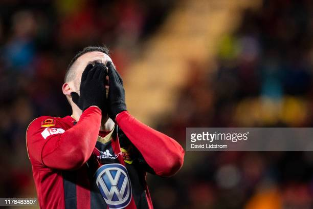 Dino Islamovic of Ostersunds FK during the Allsvenskan match between Ostersunds FK and Hammarby IF at Jamtkraft Arena on October 27, 2019 in...