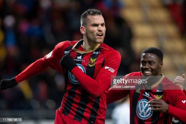 Dino Islamovic of Ostersunds FK reacts after scoring the 1-0 goal during the Allsvenskan match between Ostersunds FK and IK Sirius FK at Jamtkraft...