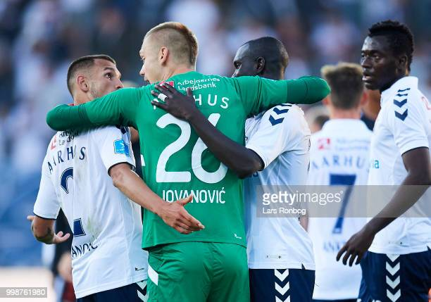 Dino Mikanovic Aleksandar Jovanovic and Adama Guira of AGF Aarhus celebrate after the Danish Superliga match between FC Midtjylland and AGF Aarhus at...
