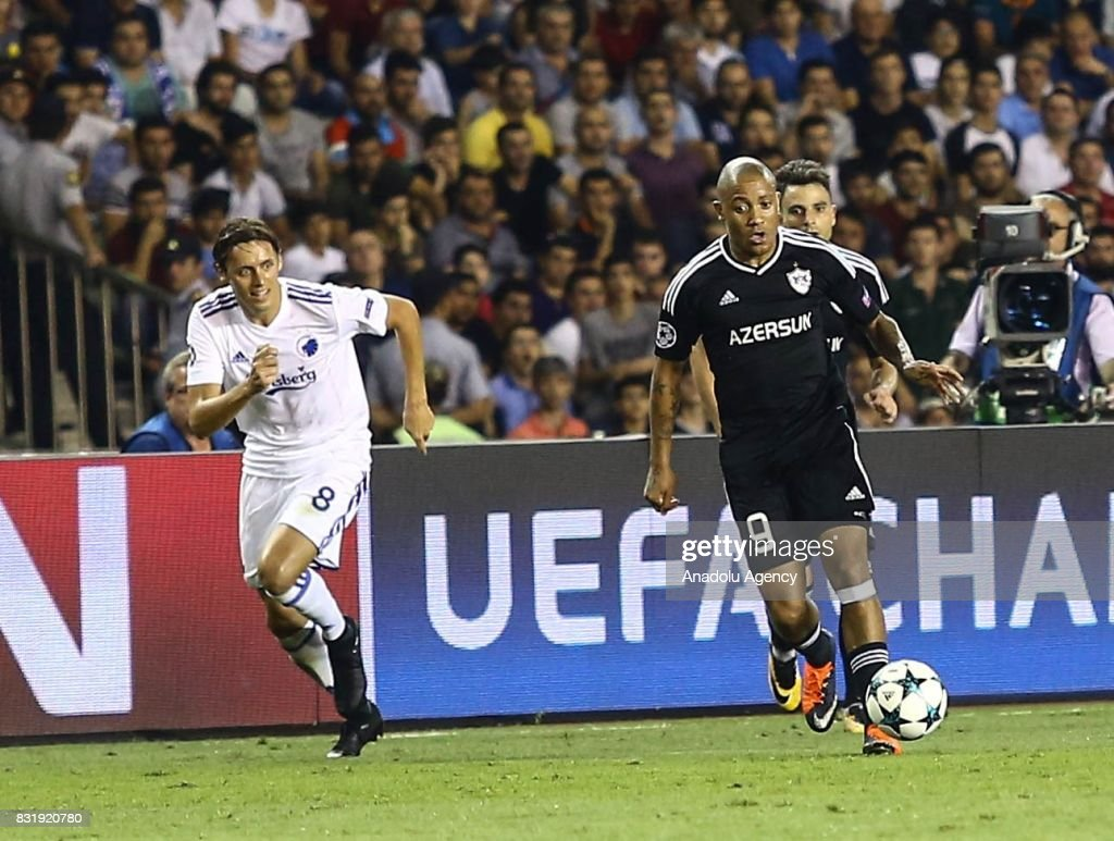 Dino Ndlovu (9) of Qarabag Agdam in action against Uros Matic (8) of FC Copenhagen during the UEFA Champions League play-off match between Qarabag Agdam and FC Copenhagen at Tofiq Bahramov Stadium in Baku, Azerbaijan on August 15, 2017.