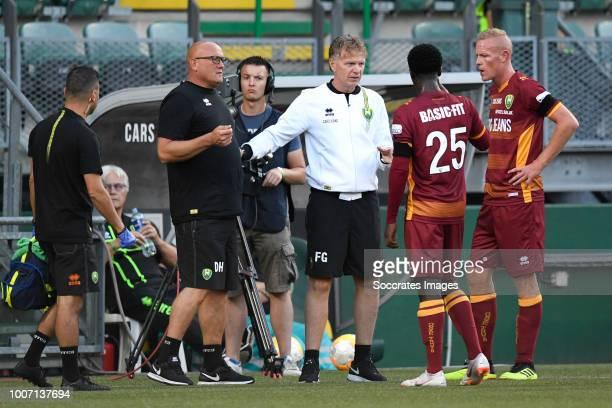 Dino Nunes of ADO Den Haag assistant coach Dirk Heesen of ADO Den Haag coach Alfons Groenendijk of ADO Den Haag Robin Polley of ADO Den Haag Tom...