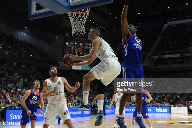 Dino Radoncic #32 of Real Madrid in action during the 2017/2018 Turkish Airlines EuroLeague Regular Season Round 20 game between Real Madrid and...
