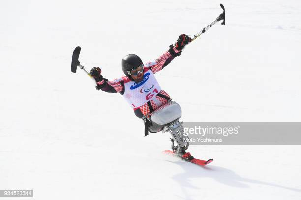 Dino Sokolovic of Croatia celebrates after his second run of the Alpine Skiing Men's Slalom Sitting on day eight of the PyeongChang 2018 Paralympic...