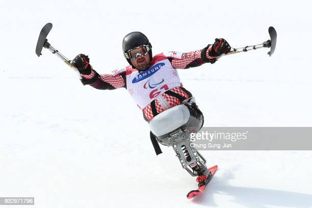 Dino Sokolovic of Croatia celebrates after winning the Alpine Skiing Men's Slalom Sitting during day eight of the PyeongChang 2018 Paralympic Games...