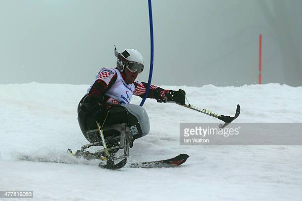 Dino Sokolovic of Croatia competes in the Men's SC Slalom Run 1 Sitting during day four of Sochi 2014 Paralympic Winter Games at Rosa Khutor Alpine...