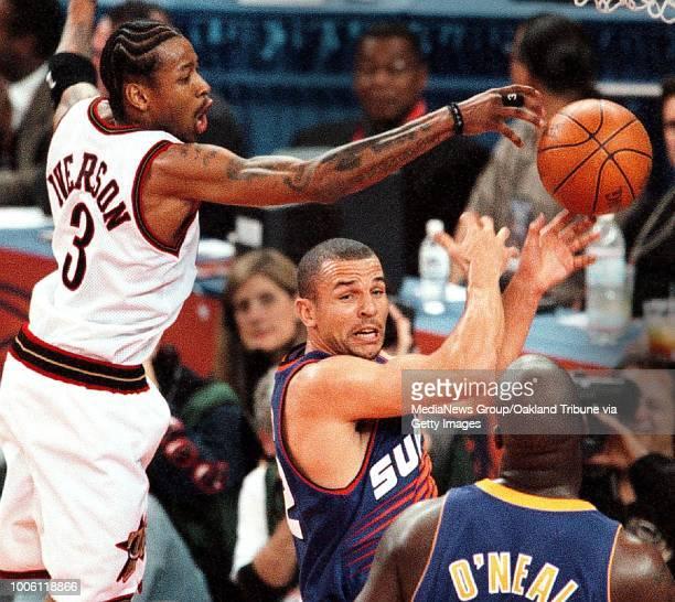 dino vournas/staff 2/13/00 tribune sports#13Allen Iversen battles Jason Kidd in first half NBA AllStar Game action