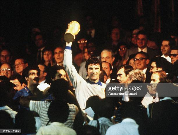 Dino Zoff of Italy lift the trophy after winnings the Final FIFA World Cup Spain 1982 match between Italy and Germany at Estadio Santiago Bernabéuon...