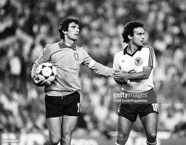 Dino Zoff of Italy with Hansi Muller of West Germany during the FIFA World Cup Final between Italy and West Germany at the Santiago Bernabeu Stadium...