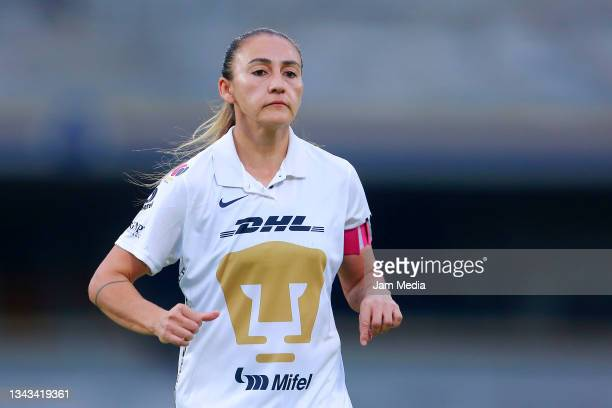 Dinora Lizeth Garza of Pumas looks on during a match between Pumas and Juarez as part of the Torneo Grita Mexico A21 Liga MX Femenil on September 27,...