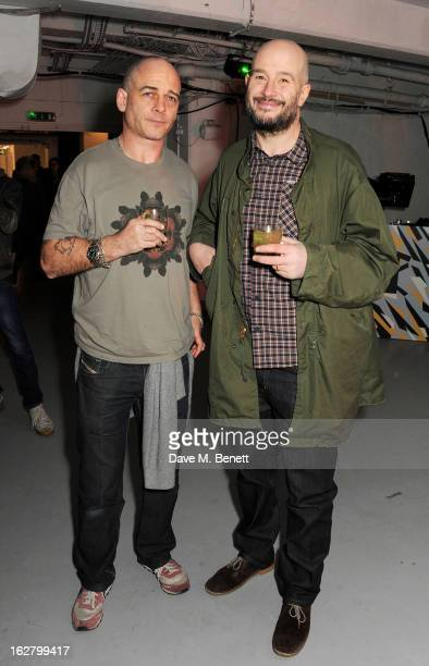 Dinos Chapman and Jake Chapman attend the launch of artist Dinos Chapman's first album 'Luftbobler' at The Vinyl Factory on February 27 2013 in...