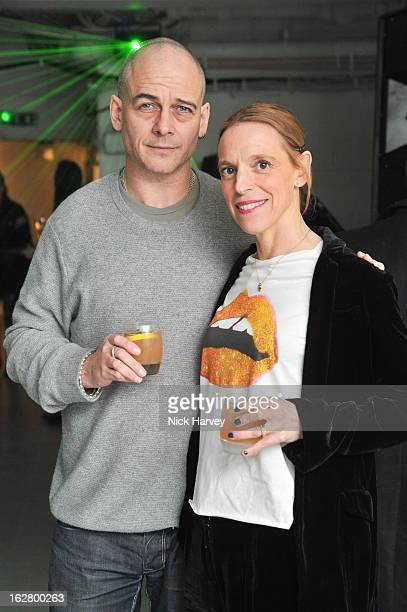 Dinos Chapman and Tiphaine Chapman attend the launch of Dinos Chapman's album 'Luftbobler' at The Vinyl Factory Gallery on February 27, 2013 in...