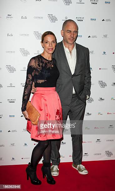 Dinos Chapman and Tiphaine Chapman attends the WGSN Global Fahsion awards at Victoria Albert Museum on October 30 2013 in London England