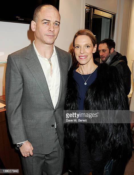 """Dinos Chapman and Tiphaine de Lussy attend a private viewing of """"Gaucho"""", a photographic exhibition by Astrid Munoz, at the Jaeger-LeCoultre Boutique..."""